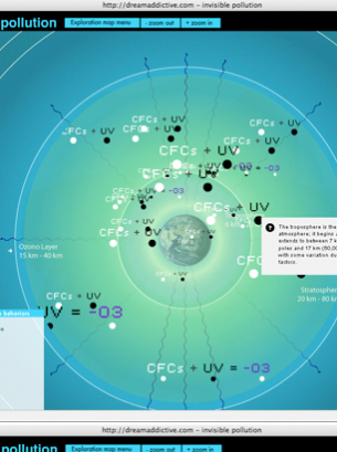 IT IS A DISPLAY ABOUT ANTHROPOGENIC CONTAMINANTS ISSUED TO OUR ATMOSPHERE. THROUGH AN INTERACTIVE SCHEMATIC MODEL IS REPRESENTED THE ATMOSPHERIC SPACE PHENOMENON